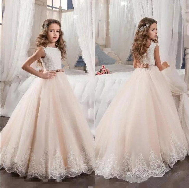 7094931fc68b 2019 First Communion Dresses for Girls Champagne Tulle Lace Sequins Ball Gown  Flower Girl Dresses for Weddings Christmas Gown
