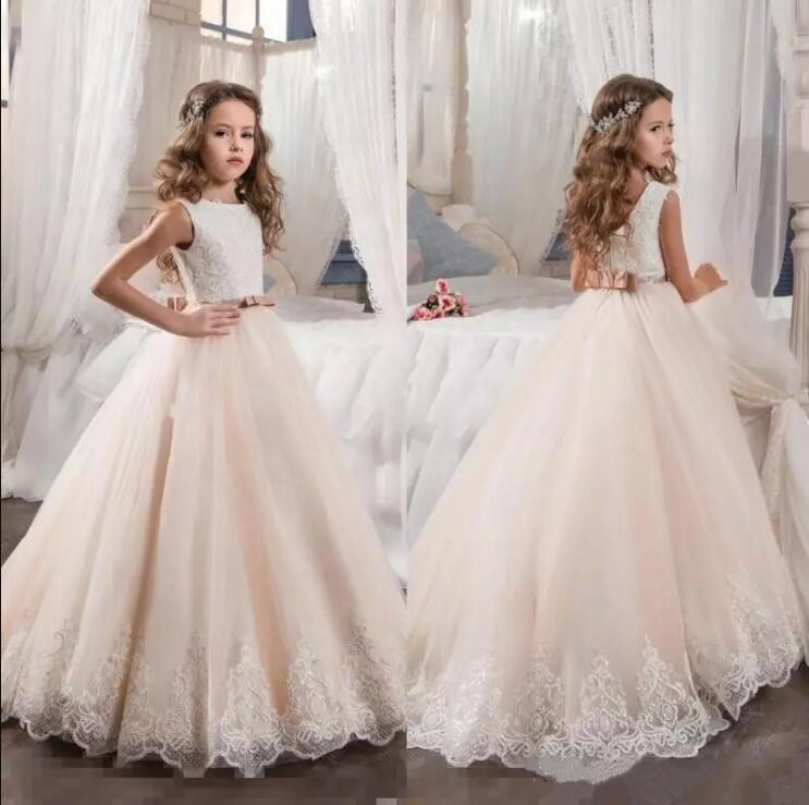 2019 First Communion Dresses for Girls Champagne Tulle Lace Sequins Ball Gown Flower Girl Dresses for Weddings Christmas Gown