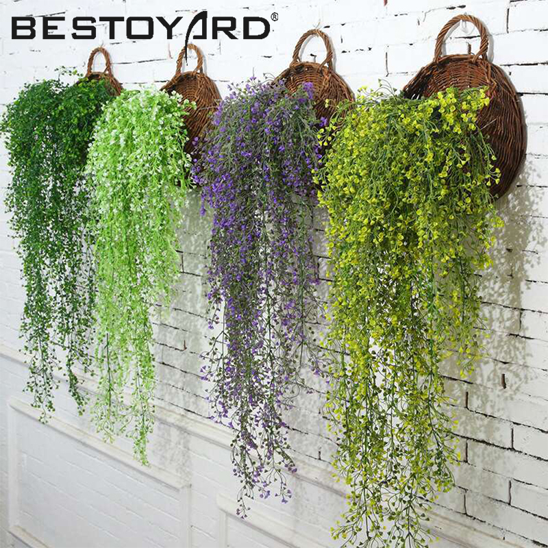 85CM Artificial Hanging Flower Plant Fake Vine Willow Rattan Flowers Artificial Hanging Plant For Home Garden Wall Decoration