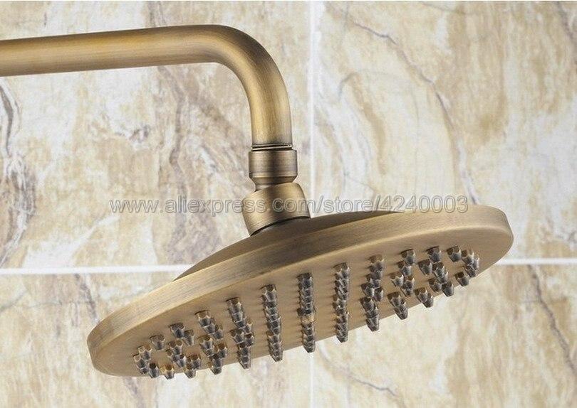 Antique Brass 8 Rainfall Shower Head Bathroom Shower Faucet Set Tub Mixer Tap with Hand Shower Krs186