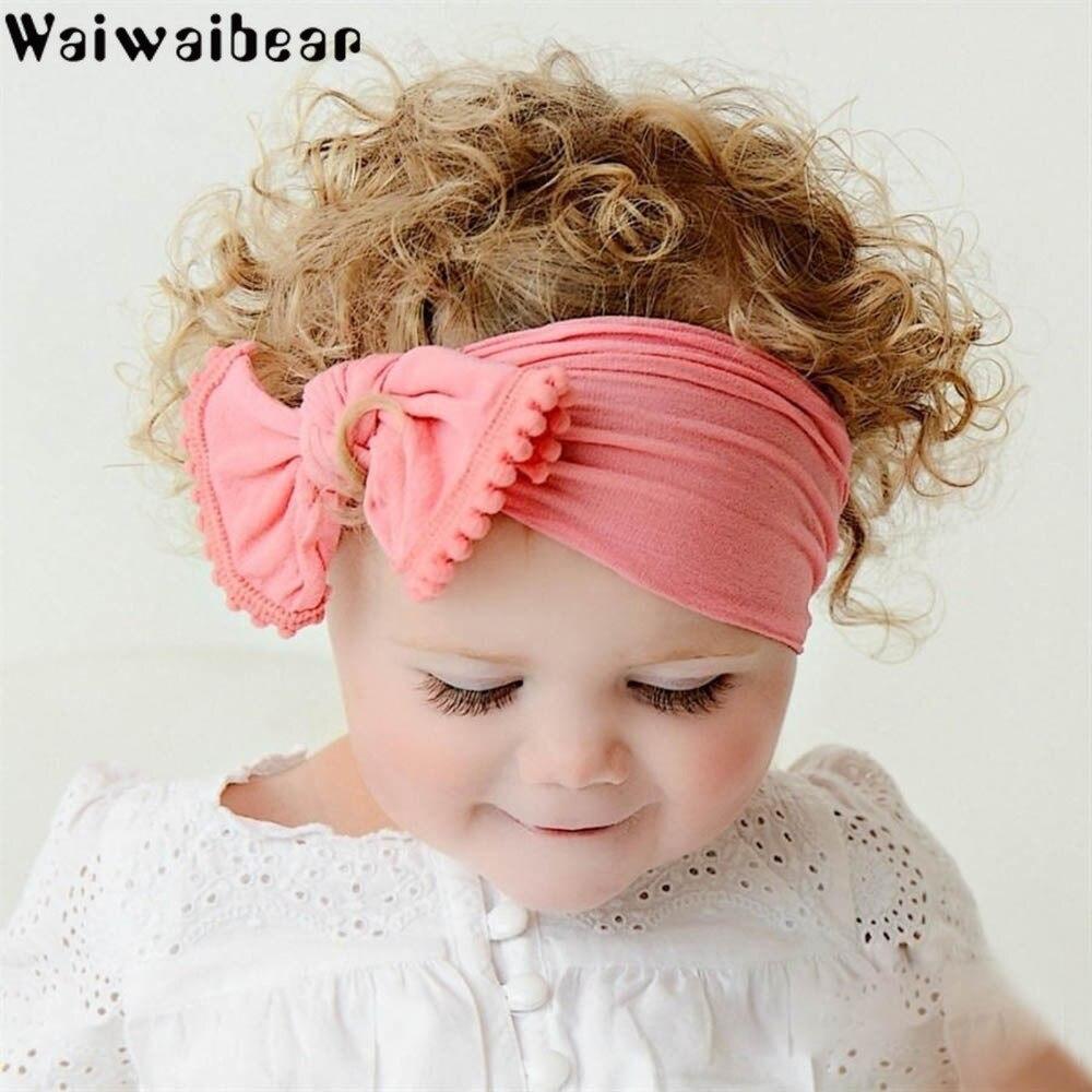 Waiwaibear Baby Girls Cotton Hairband Children Stretch Turban Infant Bowknot Headbands Headwear Accessories XM3