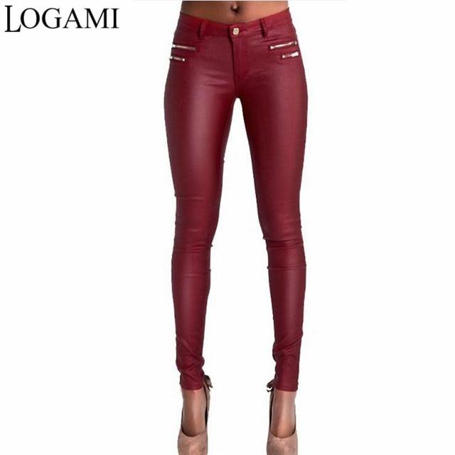 825f1eff2d LOGAMI Faux Leather Pants Women Skinny Low Waist Slim Pu Leather Trousers  Wine Red Pantalon En Cuir Femmes