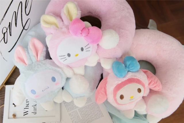 8357428eafa2 1pc 30cm cute Cinnamoroll become rabbit hello kitty Melody funny plush  travel soft sleep U pillow creative girl stuffed toy