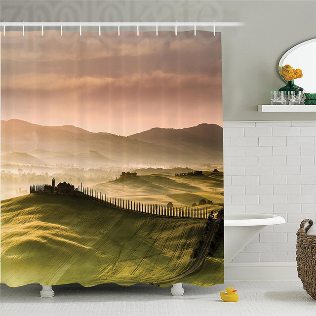 Tuscan Italian Countryside Road With Trees And Meadows By The Mountains Mediterranean Culture Polyester Bathroom Shower Curtain