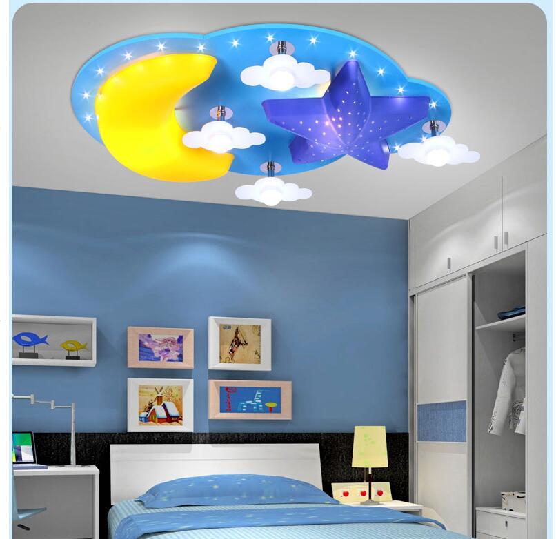 Modern Kids Bedroom Ceiling Lamp Moon Star Design E27 LED Creative ...
