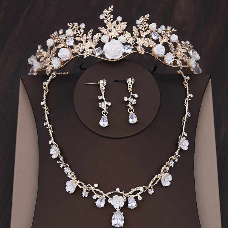 Fashion Vintage Gold Crystal Leaf Bridal Jewelry Sets Women Rhinestone Pageant Prom Crown Necklace Earrings Wedding Jewelry Set