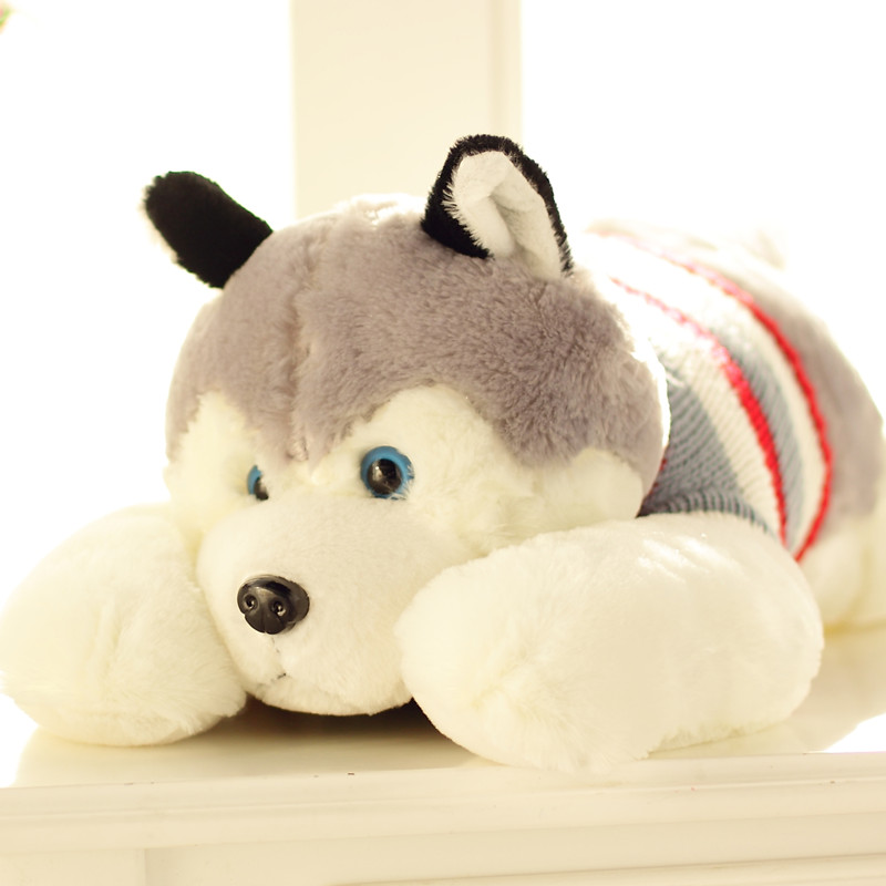 Special cute 1pc 50cm cartoon lying sweater Husky dog plush doll stuffed toy children novelty creative gift for girl