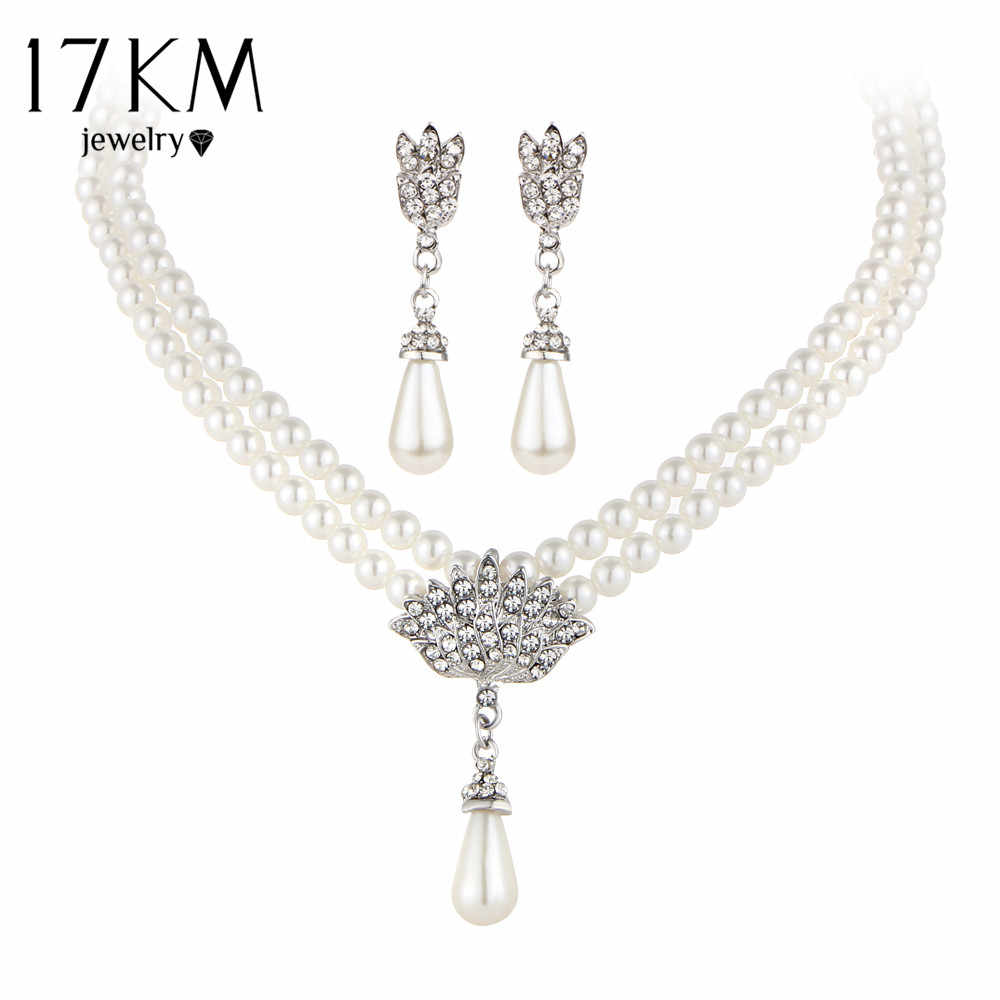 17KM Charming Bride Simulated Pearl Jewelry Set Bling Crystal Water Drop Pendant Necklaces Earring Fashion Jewelry Accessory