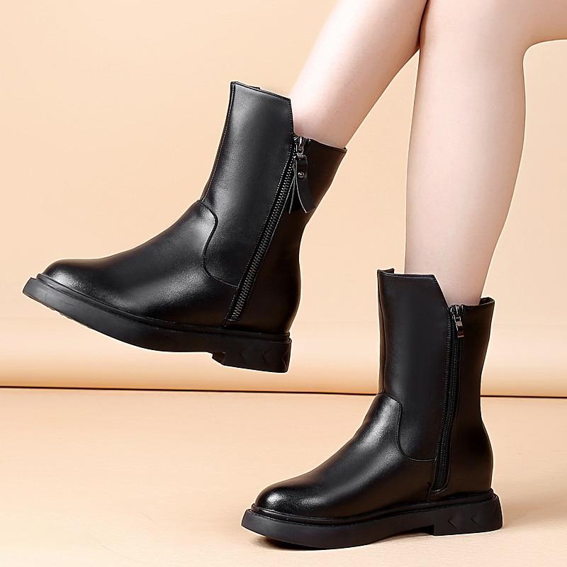 Lana Invierno Nieve Negro De Mujer Cuero Botas 2 2018 Mujeres Las Zapatos Caliente Genuino Moto Señoras EzwxIq