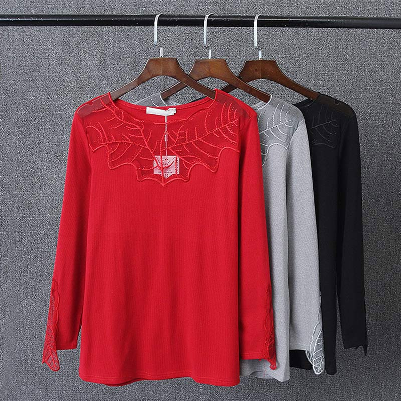 S72 Spring Casual Women T-shirt 3xl Plus Size Clothes Knitting Tops Fashion Lace Splice Bottoming Tees 7006