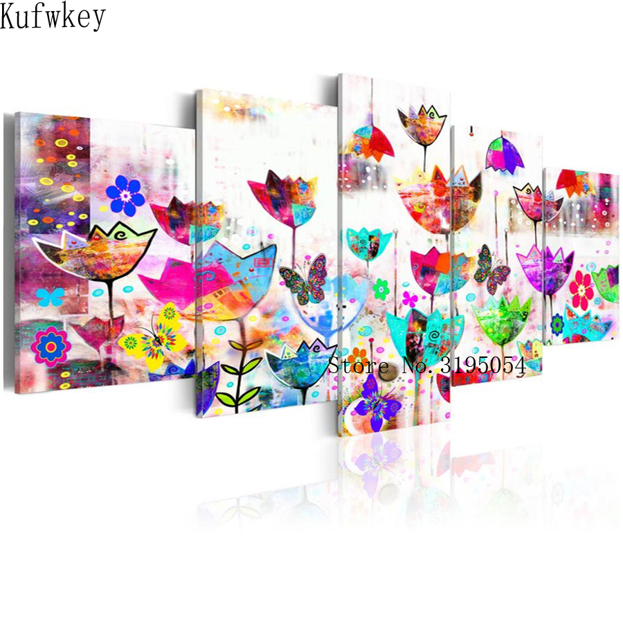 5 pcs set diamond embroidery sale Abstract flowers 5d diamond painting full diamond mosaic pictures of