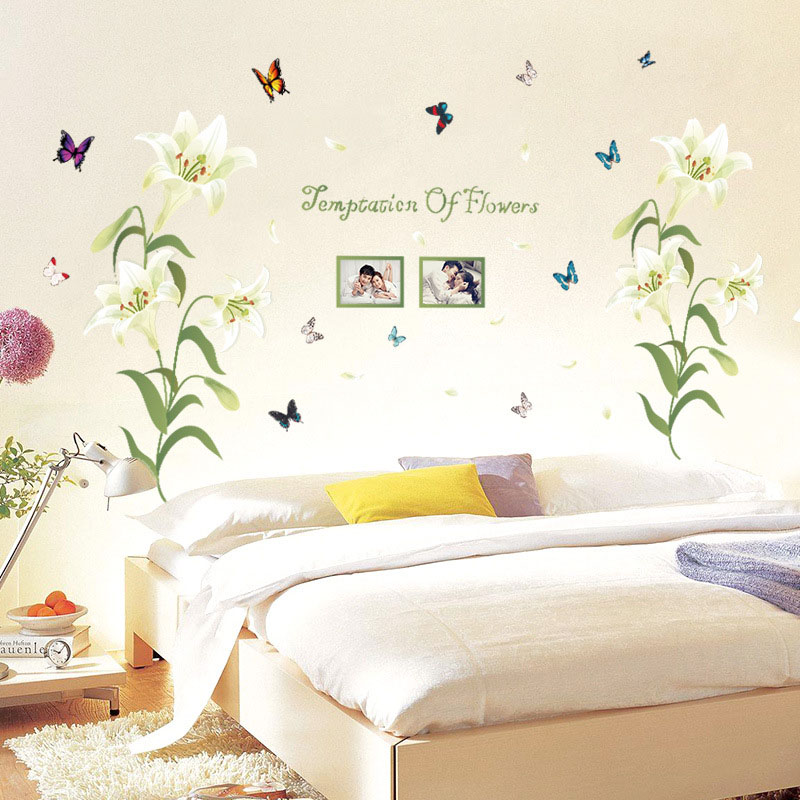 [Fundecor] 2 colors lily flowers frame wall stickers home decor living room bedroom Bed Head decoration wall decals diy mrals