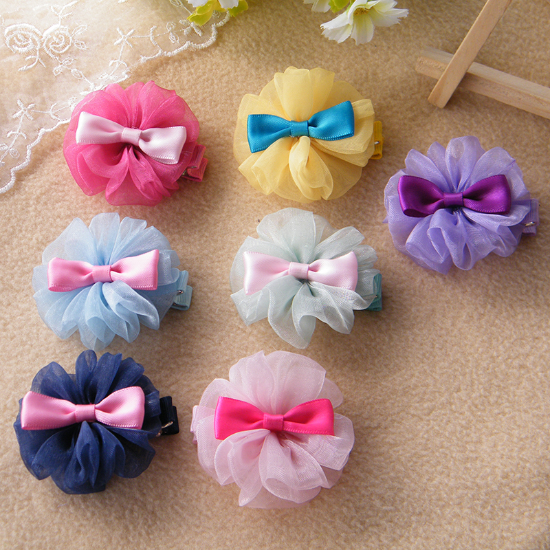 Korean High Quality Flowers Bowknot Girls Hair Accessories Hairpins Children's Hair Bows Clips Princess Barrette Baby Headwear magic elacstic hair bands big rose decor elastic hairbands hair clips headwear barrette bowknot for women girls accessories