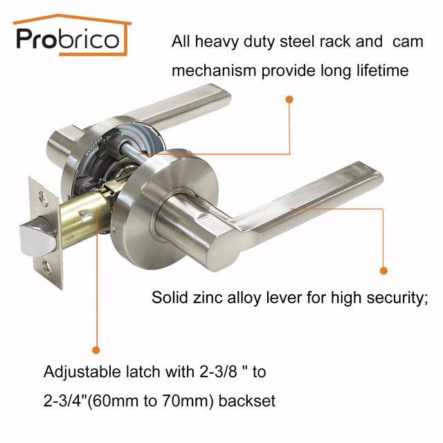 Probrico Stainless Steel Entrance/Privcy/Passage Door Lock Satin Nickel Door Knob Door Handle DL1637SN
