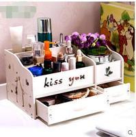 Home desktop cosmetic boxes Draw out type make up box shelf large jewelry box storage box