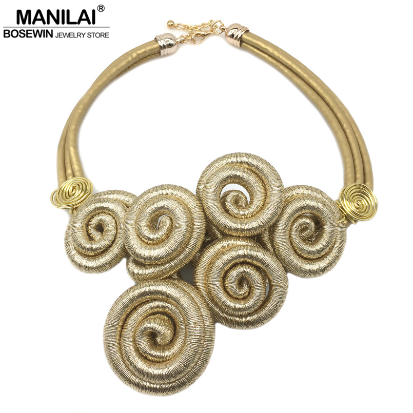MANILAI Marca Hecho A Mano Espiral de Metal Exageración Gargantilla Collares Declaración de Cadena Para Las Mujeres de Color Oro Collar Maxi Collar
