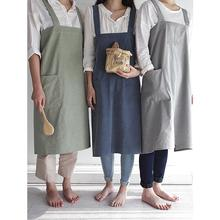 Yfashion Nordic simple cotton working apron washed hemp Kitchen Baking Florist
