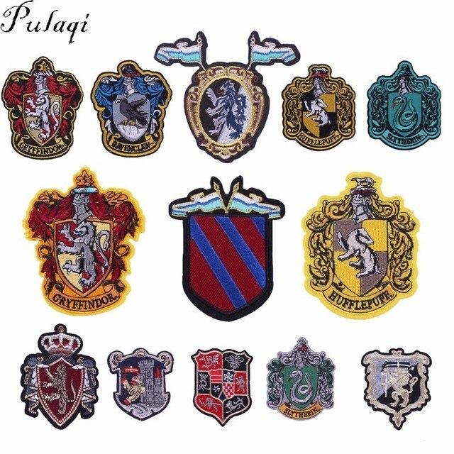 76647c015 Pulaqi Gryffindor Hufflepuff Ravenclaw Slytherin Hogwarts Slytherin hierro  en parches Harry Potter camiseta pegatinas insignias E