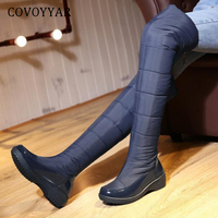 COVOYYAR 2019 Women Snow Boots Winter Warm Down Over The Knee Boots Thigh High Slim Fit Cold Weather Wedge Shoes Woman WBS442