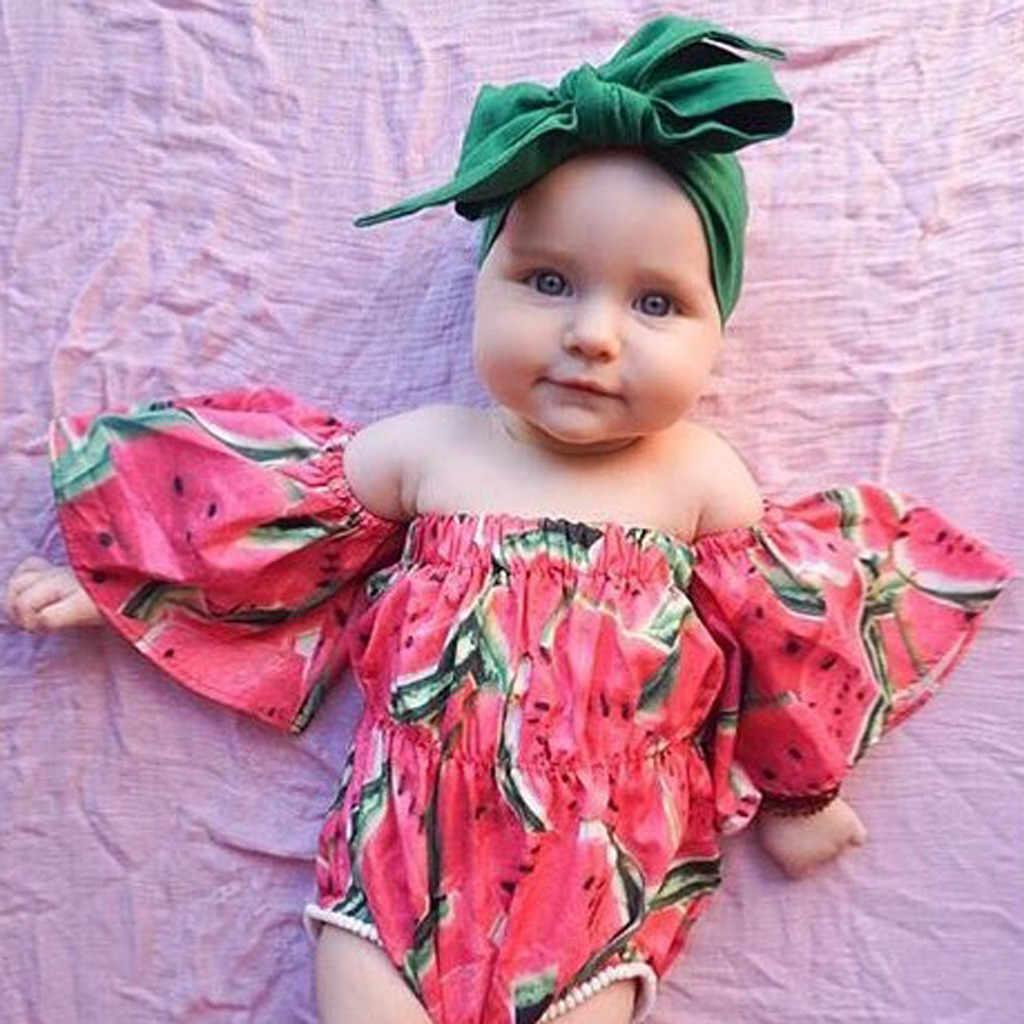 Lindo bebé niñas trajes hombro impresa mameluco + diadema trajes de bebé chica ropa bebé niña ropa de verano ropa de silicona tulum
