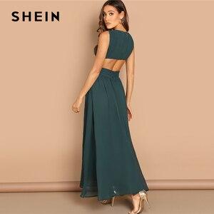 Image 2 - SHEIN Green Plunge Neck Crisscross Waist Ball Dress Elegant Plain Fit and Flare Dress Women Autumn Modern Lady Party Dresses