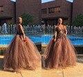 Moda Sexy Com Decote Em V de Chocolate Brown Prom Dresses 2017 Tulle Backless Até O Chão Lace Vestidos de Noite Formal Vestido de Festa Africano