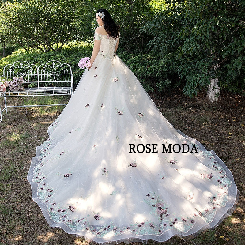 0f151caab8 Rose Moda Lace Plus Size Wedding Dress 2019 Off Shoulder Short Sleeves Plus  Size Wedding Gowns