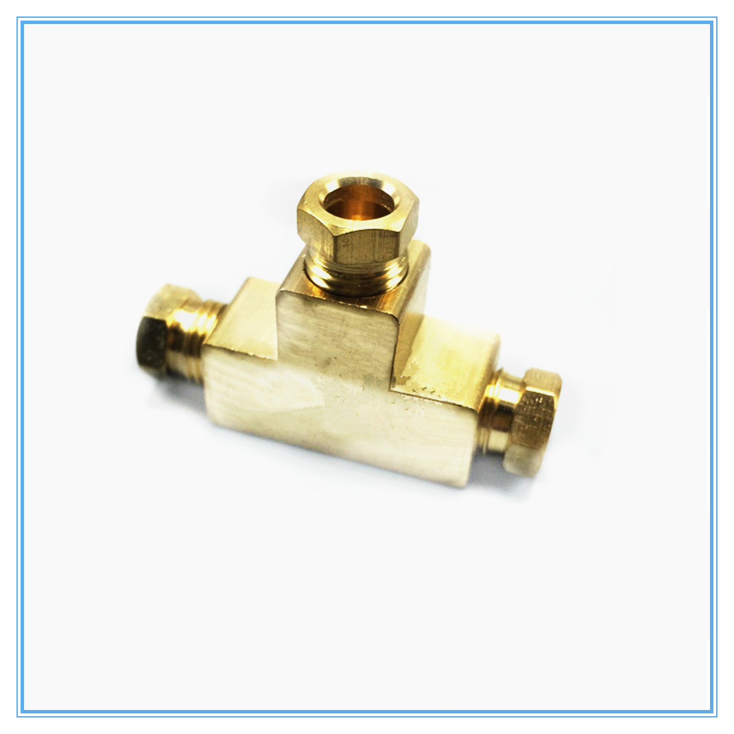 Three-way Copper Joint Lubrication Pump Tubing Joint M8 M10 Card Sleeve Tubing Connector