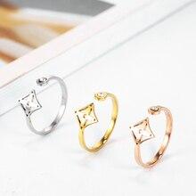 Обручальное циркониевое кольцо с изображением дерева клевера и звезды, кольцо из нержавеющей стали, Женские Ювелирные изделия, аксессуары для kpop