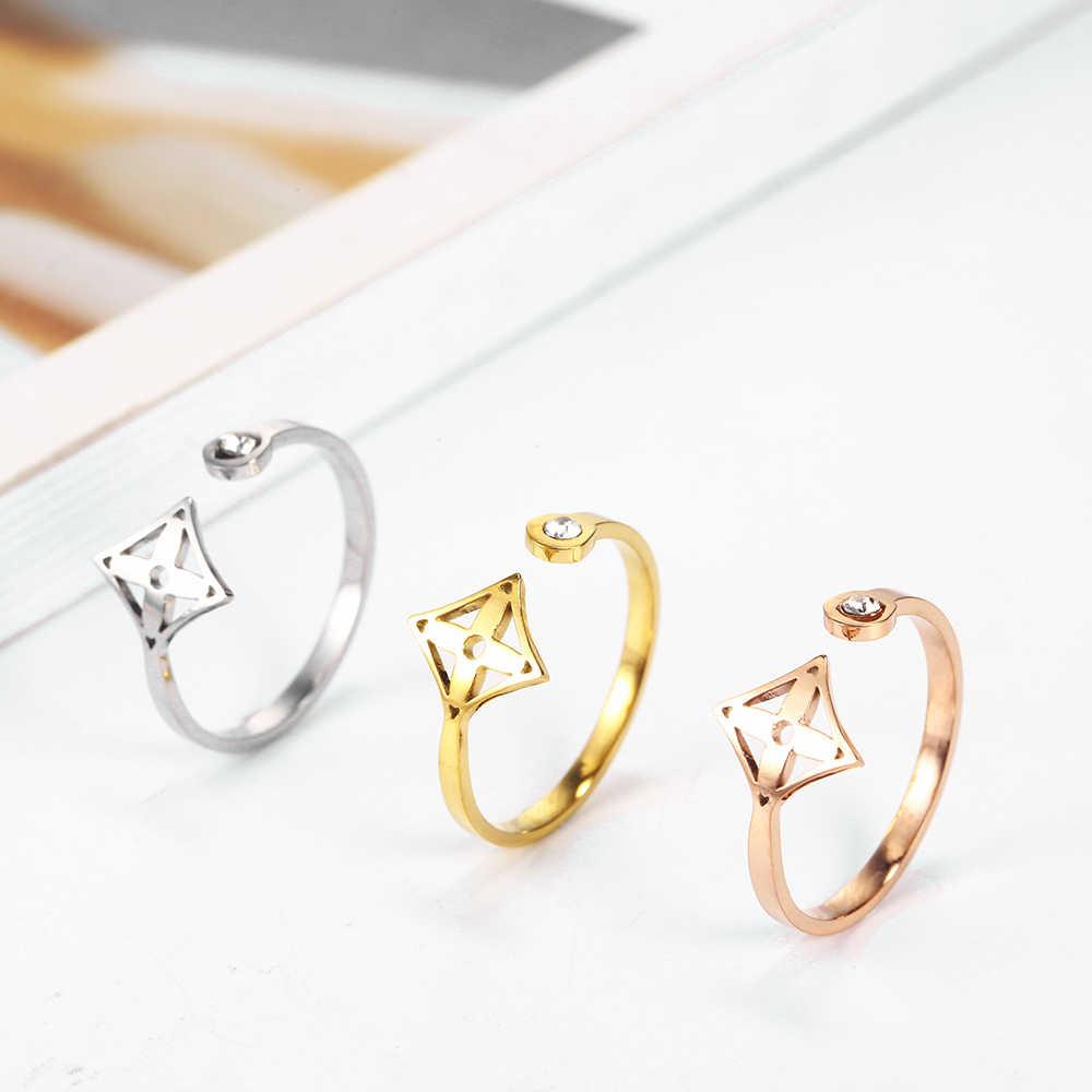 אירוסין אהבת חיים עץ תלתן כוכב טבעת זירקון טבעת פתיחת נירוסטה טבעת נשי תכשיטי kpop אבזרים