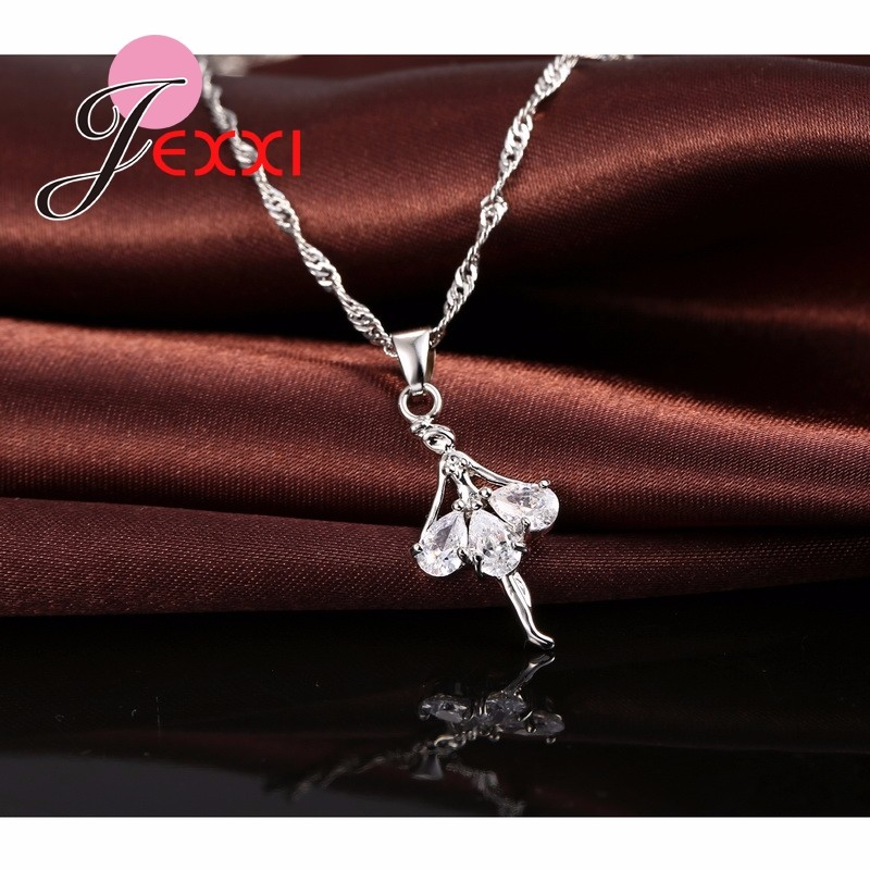 HTB10fdbJFXXXXaPXpXXq6xXFXXXi - Elegant 925 Sterling Silver Ballerina Necklace Earrings Set With Shiny Crystal Women Girls Wedding Engagement Jewelry Set