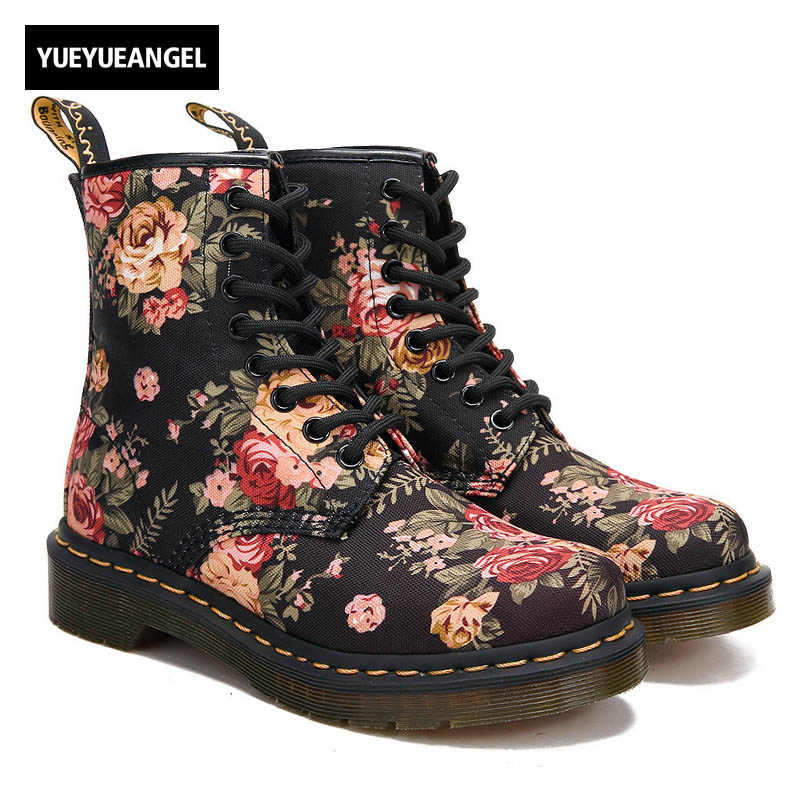 New Spring Top Fashion Womens Retro Flowers Ridding Lace Up High Top Shoes British Female Cloth Ankle Boot Combat Shoes ...