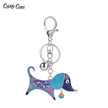 Cring Coco Metal Alloy Cute Dog Key Chains Keychain Keyrings Enamel Pendant Jewelry For Women Girls Bag Car Charms