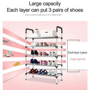 Image 5 - الموضة لتقوم بها بنفسك الجمعية رف الحذاء المعدني طالب عنبر الأحذية تخزين الرف متعدد الطبقات رف الأحذية الصغيرة منظم خزانة