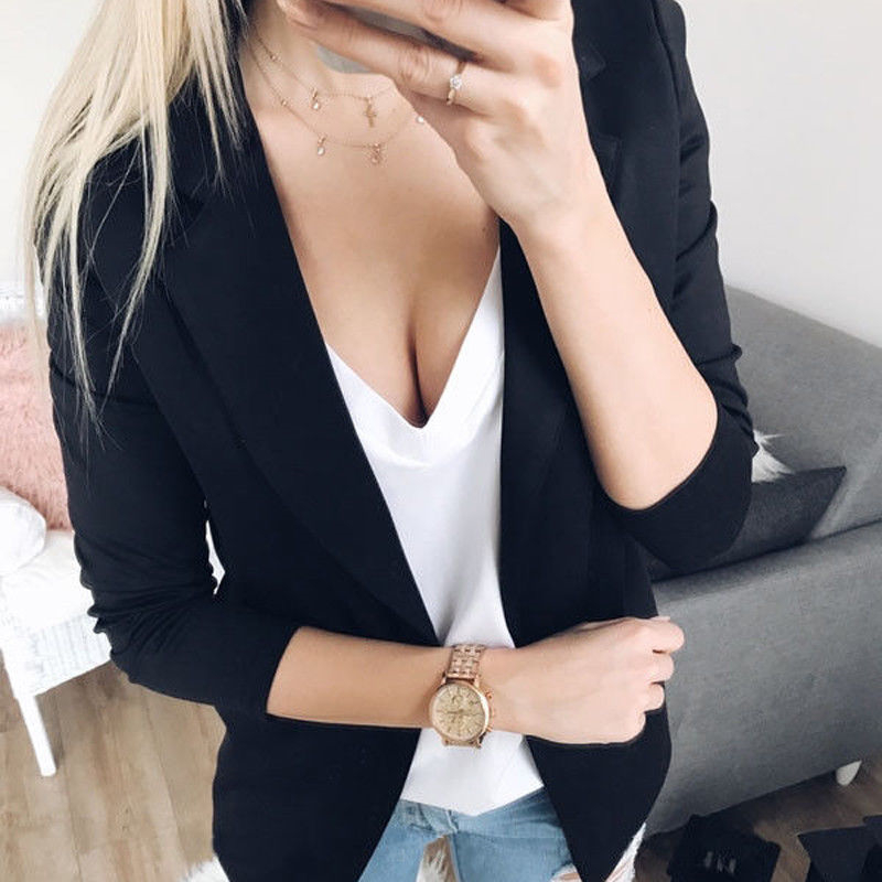 Women Slim OL Suit Casual Blazer Jacket Coat Tops Outwear Long Sleeve Female Blazers
