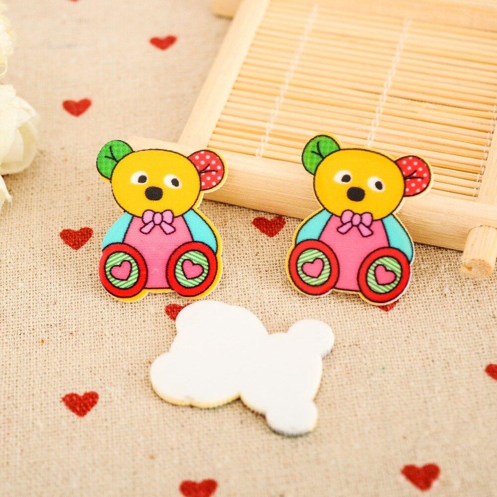 ᗗ colours kawaii Bear Cartoon Figurine home decoration crafts flat ...