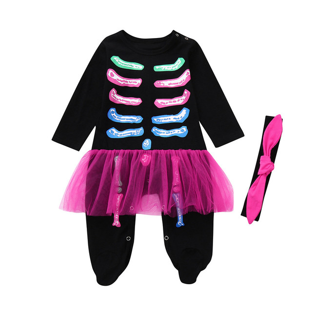 5cf12f867 2PCS Newborn Toddler Baby Girls Boys Bone Romper Jumpsuit Halloween Costume  Outfits+Headband Sets Cute fashion sets new year