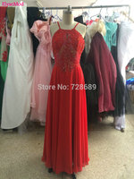 New Arrival A Line Real Photo Scoop Neck Red Floor Length Chiffon Red Sequined Evening Gown