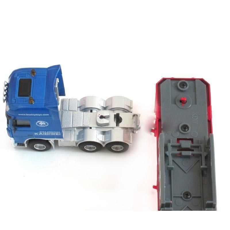 Alloy Diecast Transporter 1:50 10 Roda Trailer Semi Traktor Dapat Dilepas Platform Truk Diecast Model Hobi Mainan untuk Anak-anak