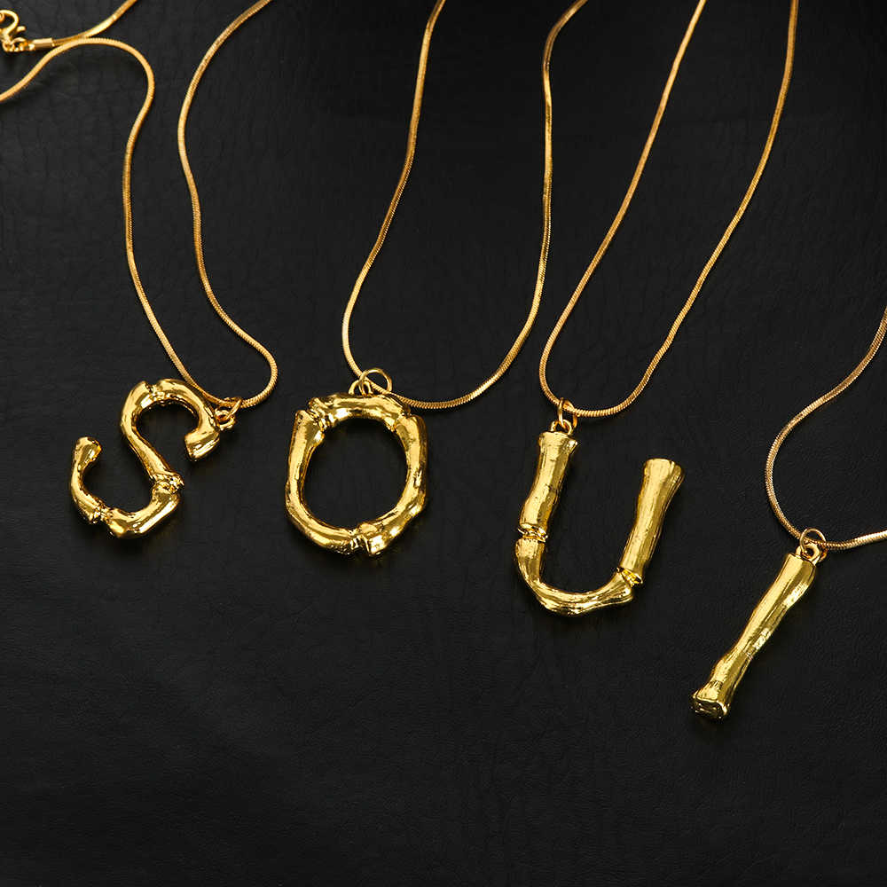 Exaggerated Gold Letter Necklace Women A-Z Lava Alphabet Pendant Long Necklace Temperament Chains Fashion Jewelry