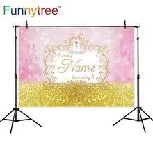 Fundos para estúdio de fotografia Funnytree ouro decoração de aniversário da princesa castelo para as crianças fotografia fundo photocall