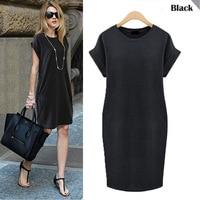 Летнее платье с короткими рукавами большие размеры женской одежды был тонкий платья Черный Повседневная одежда Большие размеры Vestido женски...
