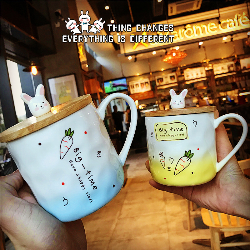 Japanese creative bunny ceramic cup cute Meng rabbit breakfast cup cute cup drink cup with cover spoon milk coffee mug gift