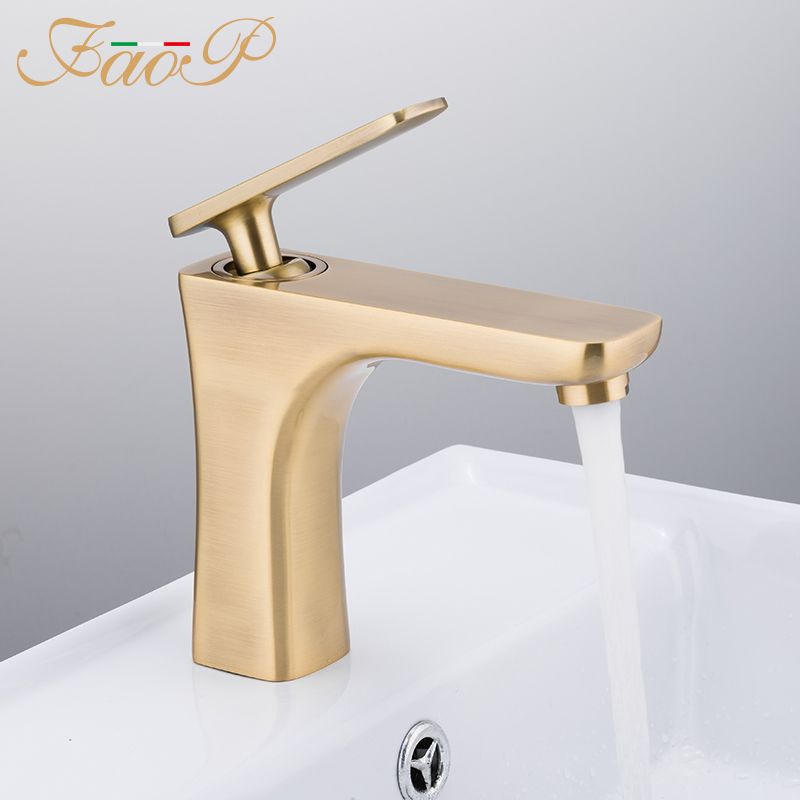 FAOP basin faucet bathroom faucet mixer water tap golden basin faucets waterfall faucet deck mounted taps