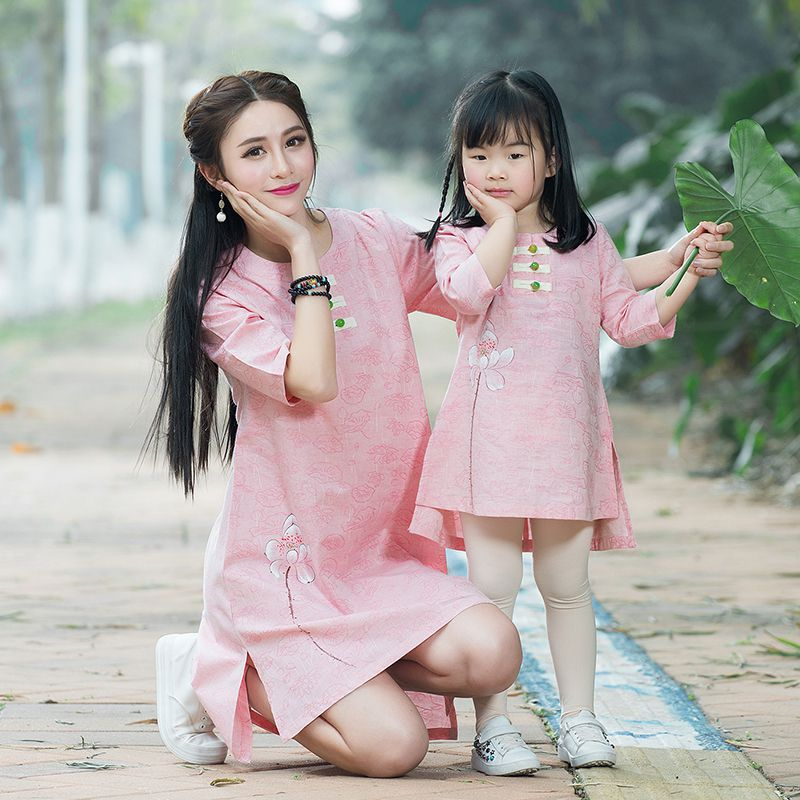 Mother Daughter Dresses 2017 Summer Autumn Vintage Mom and Kids Daughter Dress Cotton Linen Family Matching Clothing Outfits 2017 summer children clothing mother and daughter clothes xl xxl lady women infant kids mom girls family matching casual pajamas
