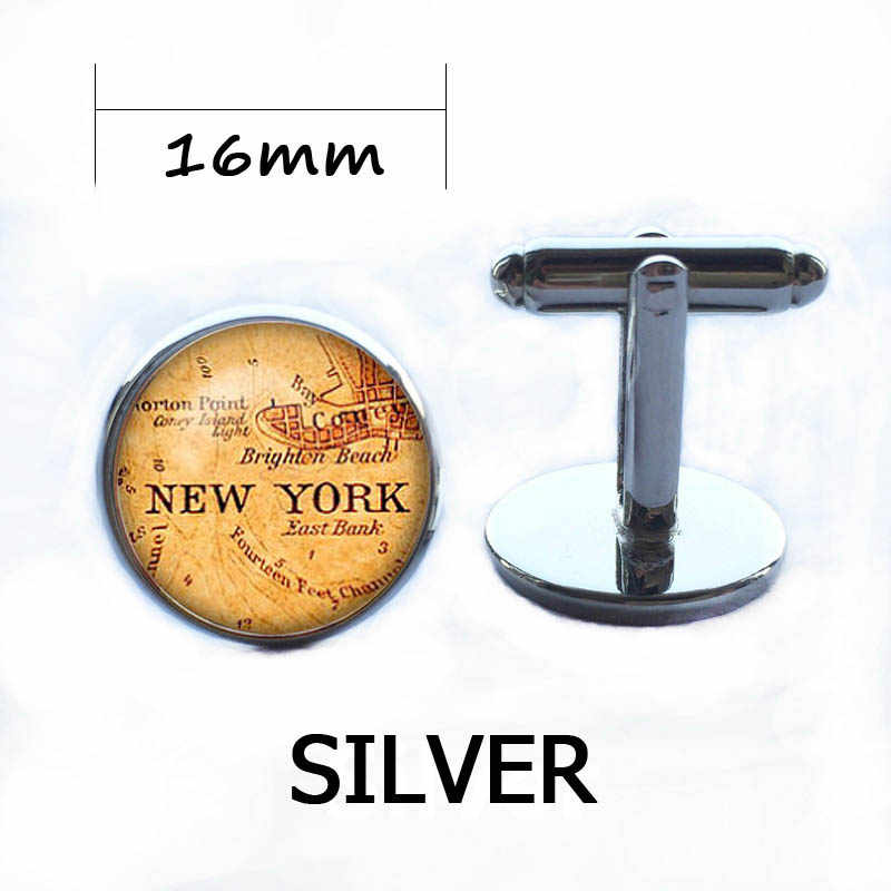 Vintage vieux américain ville carte boutons de manchette New York Chicago dôme marque argent chemise bouton boutons de manchette hommes marié cadeau de mariage USA