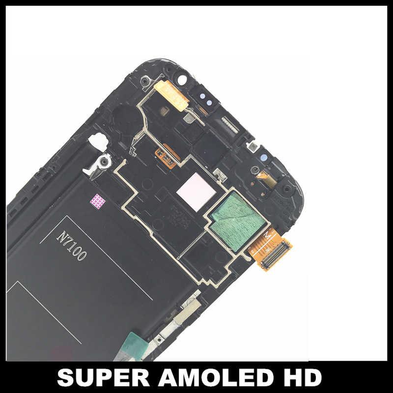Супер AMOLED lcd Замена для samsung Galaxy Note2 Note 2 N7100 lcd-экраны дисплей с рамкой сенсорный дигитайзер сборка стекло