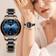 SUNKTA Fashion Women Watches Ladies Top Brand Luxury Ceramic Rhinestone Sport Quartz Watch Women Blue Waterproof Bracelet Watch miss fox new watch classic ceramic steel ladies bracelet top brand diamonds waterproof quartz watch women fashion luxury watches