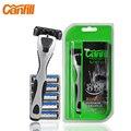Marca cabezas CANFILL maquinilla de afeitar Manual de 6 unids hojas de afeitar brocha de afeitar máquinas de hombre Safety Razor Bladed en paquete Original KL-6906