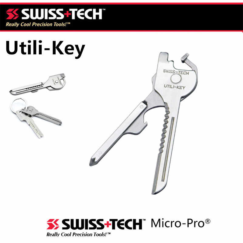 Swiss Tech New EDC 6 In 1 Stainless Steel Utili-Kunci Gantungan Kunci Rantai Saku Cutter Obeng Multi Tools camping Survival Kit